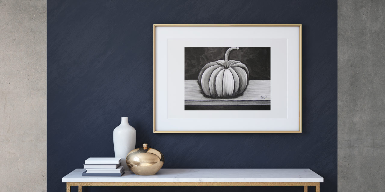 """Art for Sale """"Pumpkin"""" / Ink Painting"""