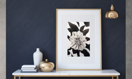 "Art for Sale ""Dahlia"" / Ink Painting"