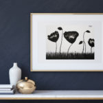 "Art for Sale ""Black Poppies"" / Ink Painting"