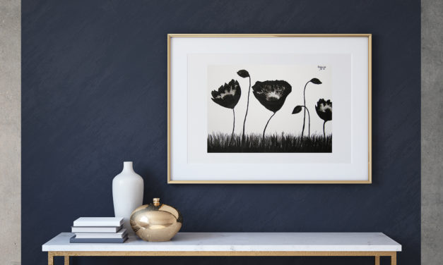 """Art for Sale """"Black Poppies"""" / Ink Painting"""